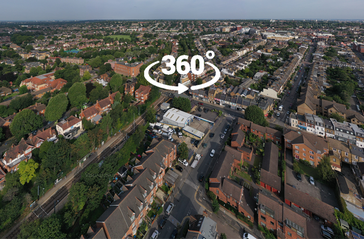 Aerial 360 panoramas for digital and creative marketing agency
