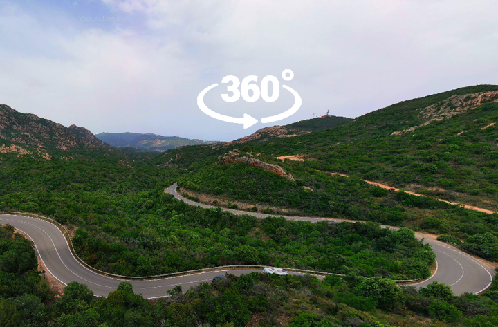 Sardinia, Italy. 360 aerial panorama between mountains